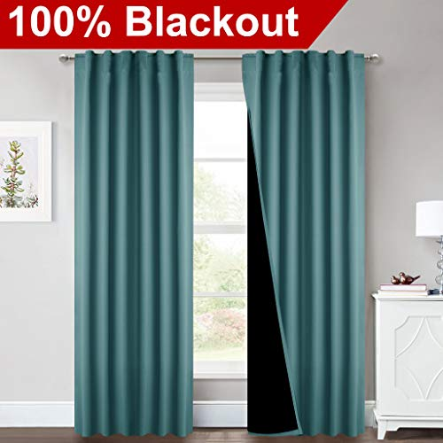 NICETOWN Heavy 100% Blackout Curtain Set, Thermal Insulated & Energy Efficiency Window Draperies for Guest Room, Full Shading Panels for Shift Worker and Light Sleepers, Sea Teal, 52W x 84L, 2 PCs