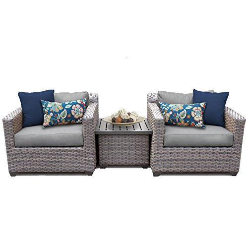 TK Classics FLORENCE-03a 3 Piece Outdoor Wicker Patio Furniture Set