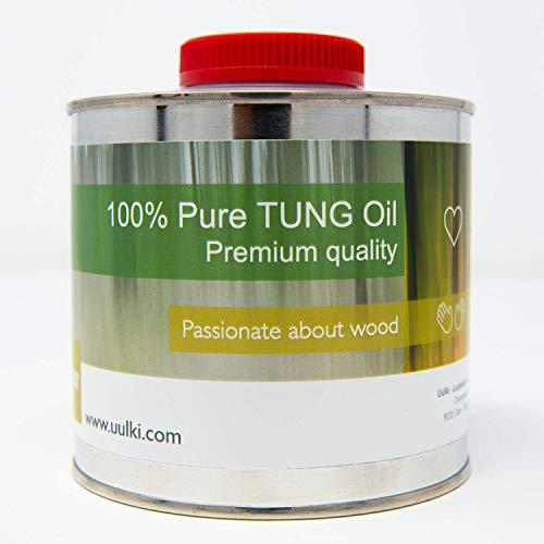 Uulki 100% reines Tungöl | Holzpflege für Innen und Aussen | Uulki 100% reines Tungöl | Holzpflege für Innen und Aussen | Holzöl Wasserabweisend Lebensmittelecht Natürlich (500 ml)