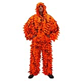 Arcturus 3D Realtree AP Blaze Orange Ghillie Leaf Suit - Over 1,000 Laser-Cut Leaves | Lightweight, Breathable Camouflage for Hunting, Paintball & Airsoft (XL/XXL)
