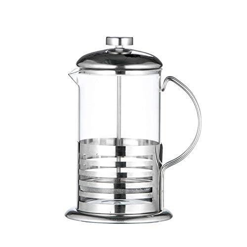 AFANGMQ Conveniencia Manual de café Cafetera exprés Olla de Acero Inoxidable Tetera de Cristal Cafetera Francesa de té del café del percolador del Filtro Prensa de émbolo (Color : 800ML)