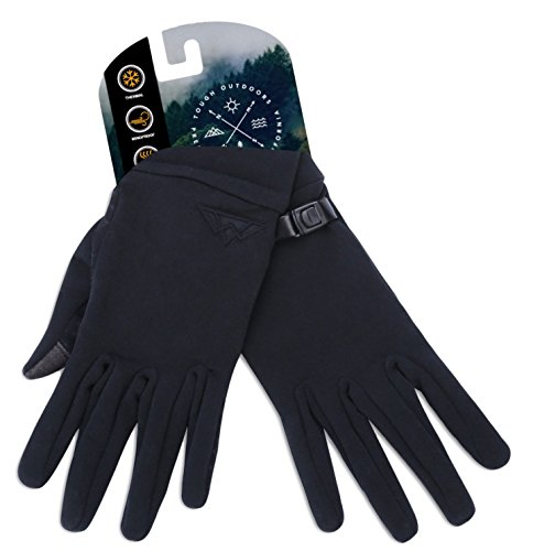 Tough Outdoors Touch Screen Running Sports Gloves - Lightweight Thermal Glove Liners Designed for Cycling, Driving & Texting - 90% Nylon 10% Spandex Reinforced Blend - Fits Men & Women