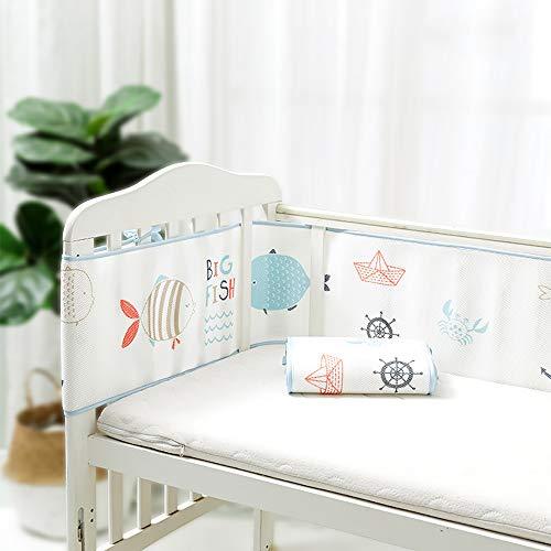 Protector Cuna, Impresión de dibujos animados Cuna para bebé Parachoques Envoltura alrededor de protección para niñas recién nacidas