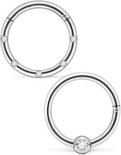 WillTen 10MM D, 16G Segmentringe,Chirurgenstahl Septum Piercing Crystal inlaidy Seamless Hinged Clicker Piercing Schmuck