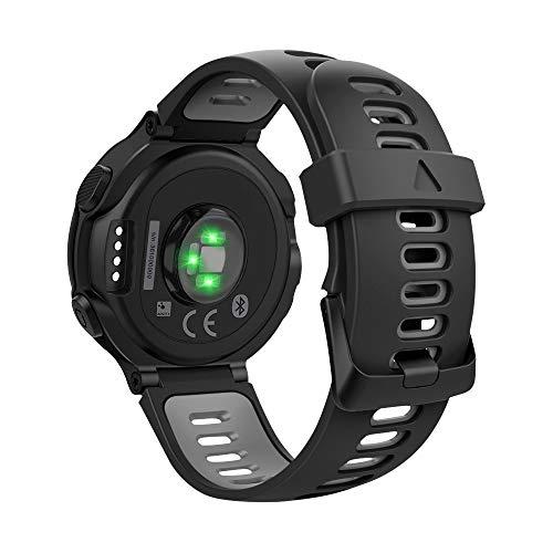 MoKo Correa Compatible con Forerunner 735XT/220/230/235/235 Lite/620/630/Approach S20/S6/S5, Pulsera de Silicona Respirable y Reemplazable, Banda de Reloj Deportivo con Cierre - Negro y Gris
