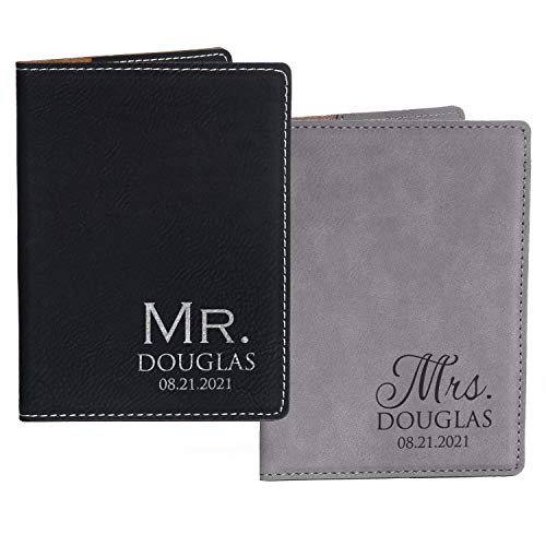 Pair (2) Personalized Mr. & Mrs. Passport Cover Pair - Black & Gray, Personalized Mr. Mrs. Passport Cases, Mr Mrs Passport Holders