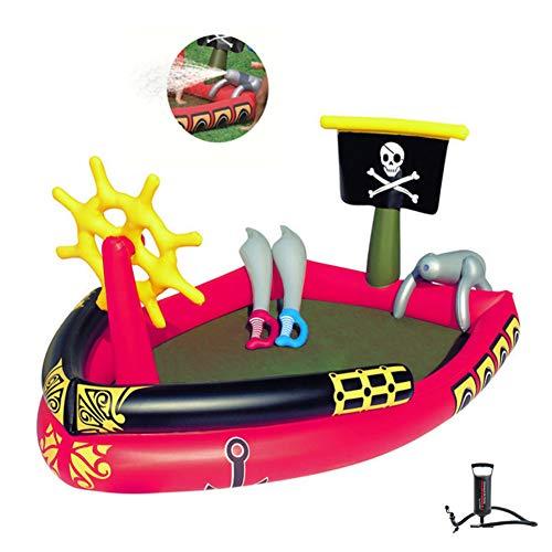WGXY Outdoor-Planschbecken Aufblasbares Piratenschiff-Schwimmbecken Fischsandbecken mit aufblasbaren Wasserspray-Planschbecken Kindergartenspielzeug für Kinder (74,8 * 55,1 * 37,8