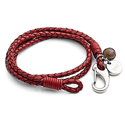 Tribal Steel, 4-strangiges Damenarmband aus rotem Leder, Edelstahlkarabiner mit Kristall-Charm + Scheibe, 19cm lang