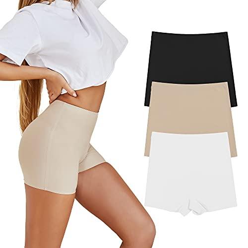 SHARICCA Damen Shorts Radlerhose Unterhose Hotpants Kurze Hose Hohe Taille Boxershorts aus Viskose 3er Pack (3P01, M)