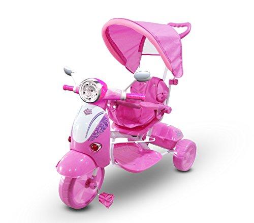 MEDIA WAVE store Tricycle Poussette à pédales LT854 pour Enfants Special Lecteur Mp3 et Capot - Rose