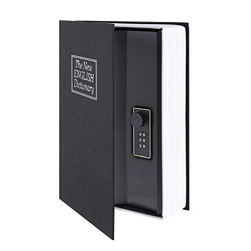 Ohuhu Caja de seguridad en forma de libro - Cerradura con Combinación, Caja Fuerte Portátil, Ideal para Guardar Dinero, Acero (Medio, Negro)