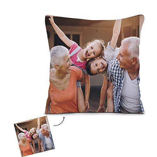 unbranned Cojín Personalizado con Foto y Texto Doble Impresión, Almohada Personalizada Foto Fundas Cojines para Sofá (Blanc, 45 x 45cm)