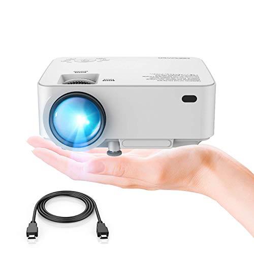 DBPOWER Mini Proiettore, 2200 Lumen Videoproiettore HD 1080P LED, Schermo 176', Durata 50.000 ore, Proiettore Cinematografico Home Theater Compatibile Amazon Fire TV Stick, HDMI/VGA/AV/USB/TF