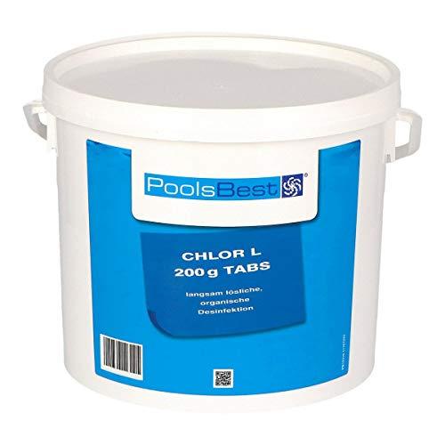 POOLSBEST® 5 kg - Chlortabletten L 200 g Tabletten 92% Aktivchlor langsamlösliche Chlortabletten