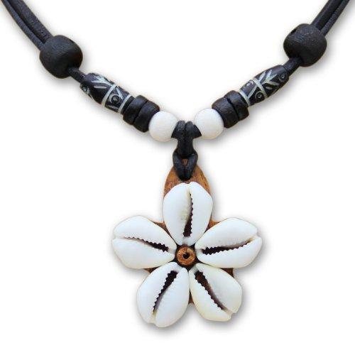 HANA LIMA ® Muschelkette Blumenkette Surferkette Lederkette Halskette Damen Damenhalskette