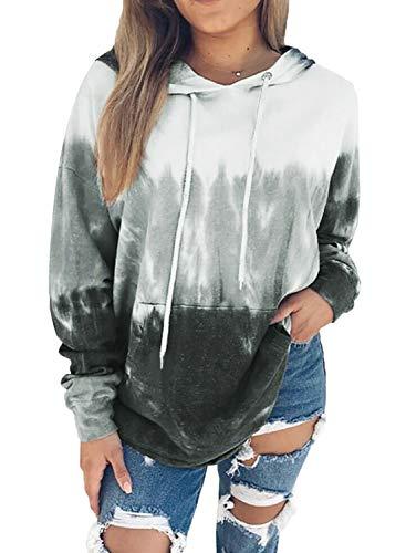 Eytino Women Hoodies Tops Tie Dye Printed Long Sleeve Drawstring Pullover Sweatshirts with Pocket,XX-Large Gray