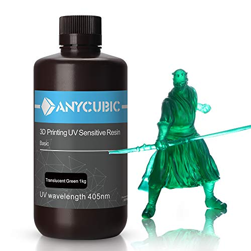 ANYCUBIC Stampate 3D UV Resina 405nm Fotopolimerica Rapida per Photon S Liquido 3D Resin Universale alta Precisione per Stampanti LCD/DLP/SLA 3D, 1KG Verde Trasparente