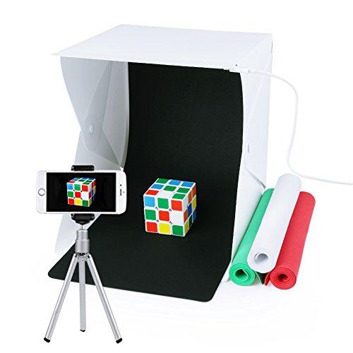 Estudio de fotografía, Caja de fotografía portátil con luz LED 24x22x24cm Mini Estudio de iluminación incl. 4 fondo