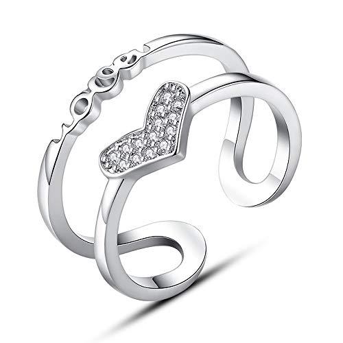 24 JOYAS Anillo Ajustable Love Corazón en Plata de Ley 925 para Mujer. Anillo para Regalo romántico
