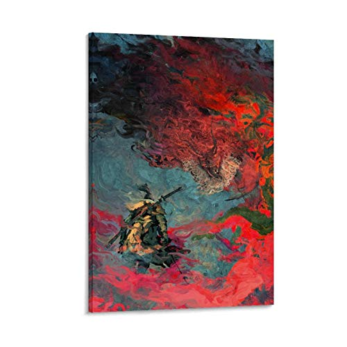 NBEI Colorido Artstation Warrior Samurai Póster decorativo de lienzo para pared, para sala de estar, dormitorio, 50 x 75 cm