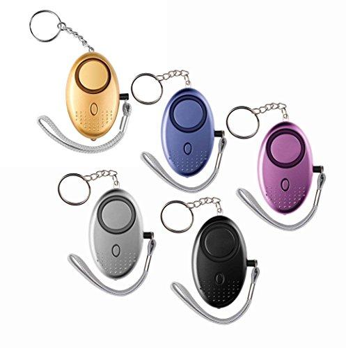 JIM'S STORE Alarma Personal de Emergencia 5 piezas 120DB Extremadamente Ruidoso con la Linterna del LED, Protección de la Autodefensa...