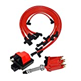 A-Team Performance Distributor, 8mm Spark Plug Wires, and E-Core Ignition Coil Compatible With 1987-1997 SBC BBC GMC Chevrolet 5.0L 5.7L C/K Pickup Truck Van Camaro 305 350 Red Cap & Wires