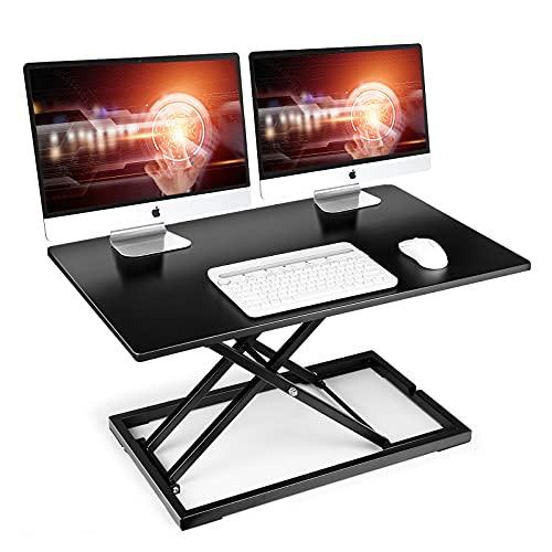 Stehpult, SIMBR 82 x 54 cm Ergonomischer Höhenverstellbarer Schreibtisch, Sitz-Steh-Schreibtisch Computer Monitor&Laptop Standtisch Sit-Stand Workstation, 6CM zu 41CM Höhenverstellbare