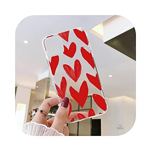 Carcasa para iPhone 12, diseño de corazón con texto en inglés 'Amor Corazón Rosa' Transparente para iPhone 6 7 8 11 12 S Mini Pro X XS XR Max Plus -A10-Iphone7 Orse2020