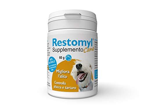 Innovet Restomyl Supplemento, Mejora el aliento Controla placa y sarro de los perros - Botella de 60 g