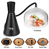 TMKEFFC Smoking Gun Food Smoker Tools Set, Portable Hand-held Smoke Infuser for Cocktails Drinks, Resin Dome Cloche, Cup Cover, DIY Flat Drill Bit Rubber Ports Included, Batteries Operated, Black