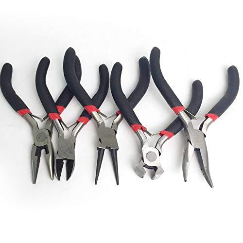 Easyeeasy 5 uds, Mini juego de alicates para hacer joyas de bricolaje, acero al carbono y PVC, juego de herramientas de corte de alicates redondos largos y doblados