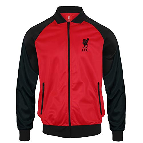 Liverpool FC - Chaqueta de Entrenamiento Oficial - para Hombre - Estilo Retro - Negro/Rojo - Pequeña