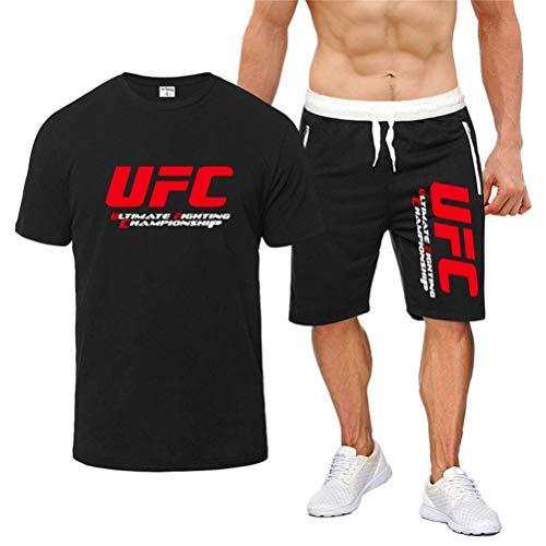 Camiseta Estampada Conjunto De Camiseta De Fitness De Verano MMA, Traje De Ropa Deportiva Impresa UFC (Color : Black, Size : Small)