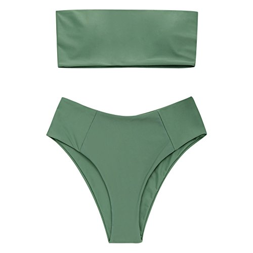 ZAFUL Women's High Cut Bandeau Bikini Set Strapless Solid Color 2 Pieces Bathing Suit Swimsuit Army Green S
