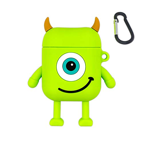 Cute AirPods Case, ifctn Shockproof Protective 3D Silicone Cartoon Monster Airpods Case Cover Compatible with Apple Airpods Charging Case Cover 1&2 (Mike)