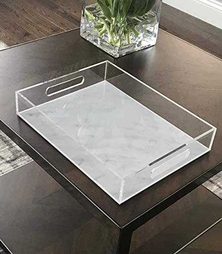 Acrylic Tary - LUXE MARBLE ACRYLIC DESIGN - Lucite Serving Tray with Two handles - Medium Size Tray - Coffee Table Tray - 12
