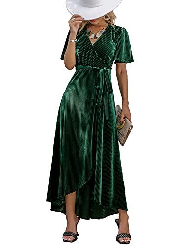 BerryGo Women's Formal Velvet Wrap Dress V Neck Cocktail Short Sleeve Swing Long Maxi Dress Dark Green L