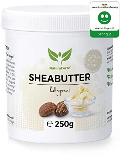 NaturaForte Beurre de karité 250g - pur et naturel, pressé à froid et non raffiné, beurre de karité de qualité supérieure, hydratant et réengraissant, sans parfum et sans additifs artificiels