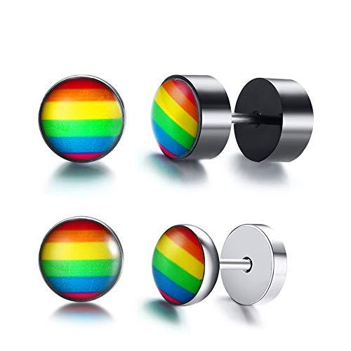 2 Pairs Trots LGBT Stud Oorbellen, Gay Lesbian roestvrij stalen ronde Pierced Oorbellen Sieraden