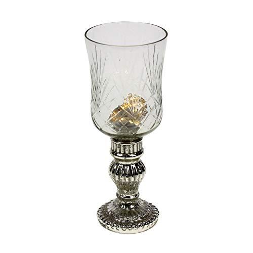 Glas Windlicht auf Fuß Antiksilber Bauernsilber 23cm Teelichthalter Kerzenhalter Kerzenglas Weihnachten Country Home Landhaus