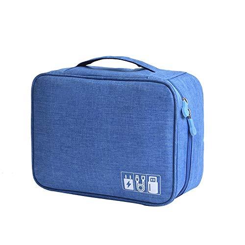 Aufbewahrungsbeutel Organizer USB Gadgets Kabel Ladegerät Strom Akku Reißverschlusstasche Reisekosmetikkoffer Blau