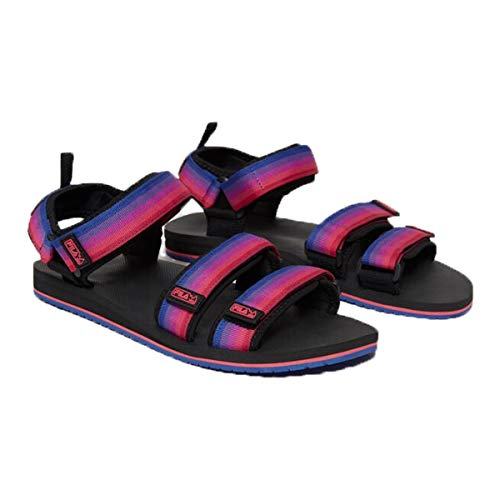 Fila Men's Drifter TS Strap Slide Sandals (Black/Purple/Pink, 10.5)