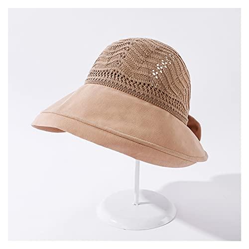 Sombreros De La Moda De Las Mujeres De Verano Solar CAP UV Playa Sun Visor Ancho Rolling Rolling Floppy Plate (Color : Khaki, Size : 56 58cm)