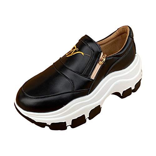 URIBAKY - Zapatillas de senderismo para mujer, plataforma casual, con cremallera, zapatillas de running en carretera, running al aire libre, running, fitness, transpirables, Negro (Negro ), 41 EU