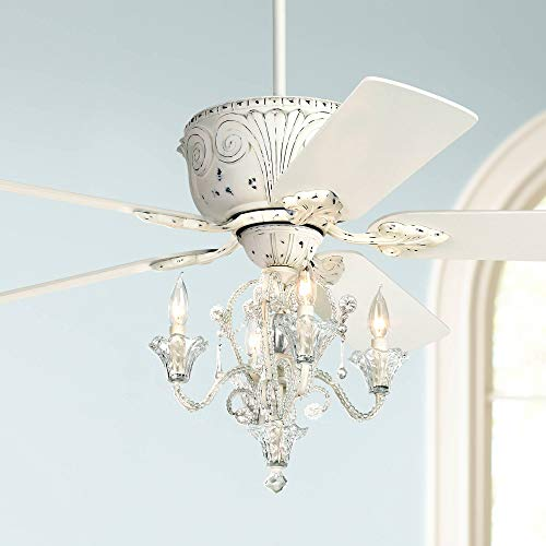 52' Casa Deville Vintage Chic Ceiling Fan with Light LED Crystal Chandelier Rubbed White for Living Room Kitchen Bedroom Family Dining - Casa Vieja
