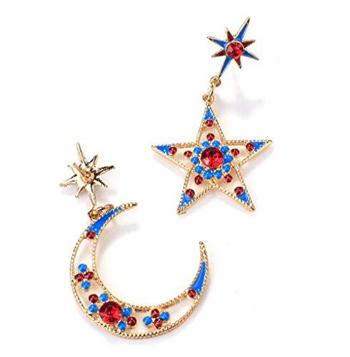 MXHJD El más nuevo pendiente de gota de luna de estrella de cristal brillante encantador pendientes de declaración multicolor para mujer joyería de moda