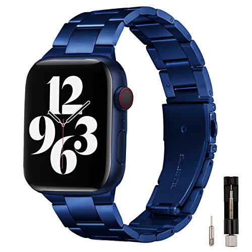 GEARYOU Pulsera de metal compatible con Apple Watch, 44 mm, 42 mm, 40 mm, 38 mm, pulsera de negocios, de acero inoxidable, compatible con iWatch Serie 6/5/4/3/2/1, SE (42 mm, 44 mm, azul).