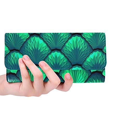 Único Personalizado Azul Verde Escalas Sirena Dragón Mujeres Trifold Monedero Monedero Largo Titular de la Tarjeta de Crédito Caso Bolso