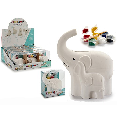 Hucha Elefante para Pintar, 8,3 cms x 11,9 cms x 13,2 cms, con 6 Colores y un Pincel, 1 Unidad