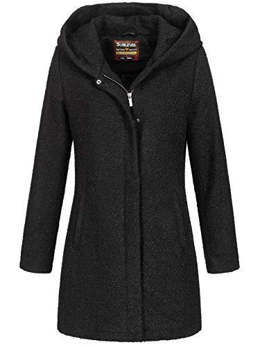 Sublevel Damen Woll-Mantel Jacke LSL-298/352 Kapuze meliert Black S